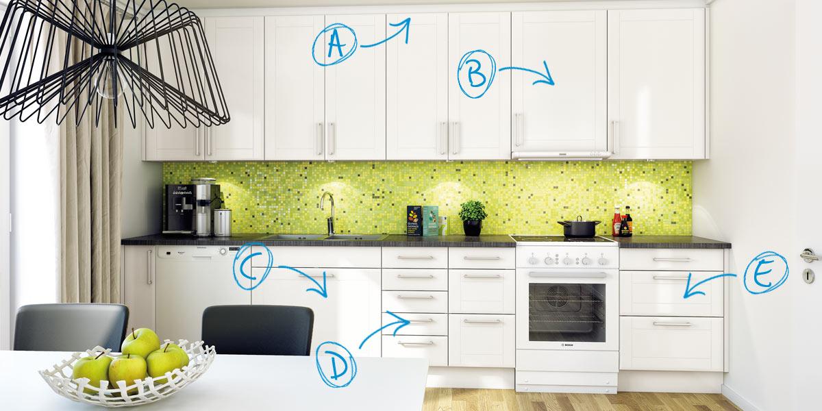 køkkenrenovering - udskiftning af bevægelige dele og bordplade