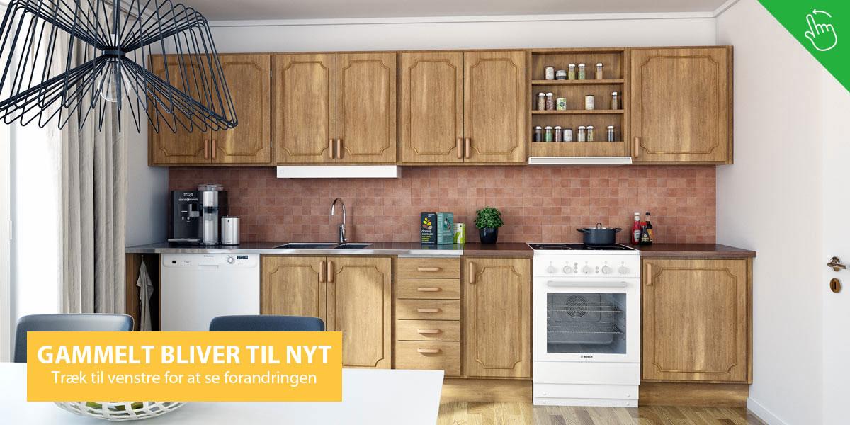 køkkenrenovering, gammelt køkken bliver nyt